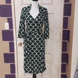 Dark green print wrap dress